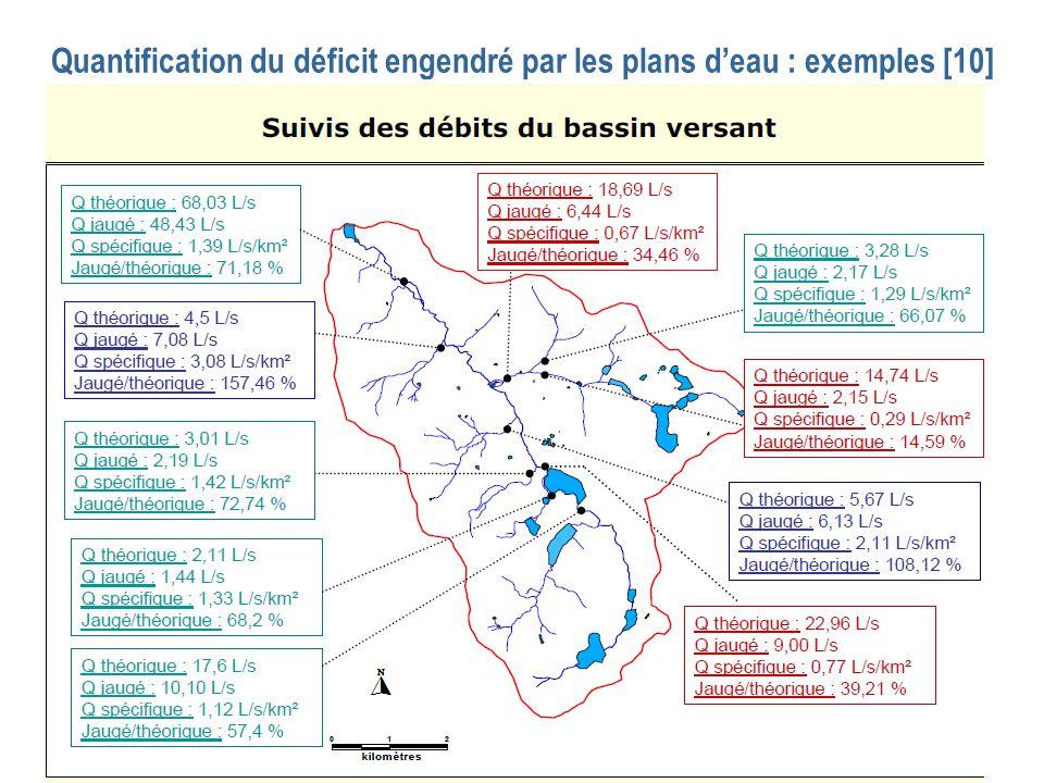 Quantification du déficit engendré par les plans d'eau : exemples [10]